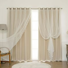 """Amazon.com: Best Home Fashion 2 Piece Mix and Match Wide Width Dotted Tulle Lace Blackout Curtain Set, 80"""" x 84"""", Beige: Home & Kitchen"""