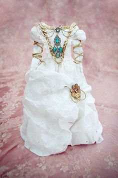 Renaissance style Paper Dress Assemblage with lace by CorinneDany, $210.00