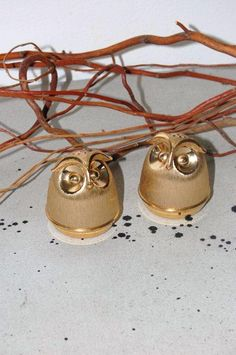 brass owl salt and pepper shakers