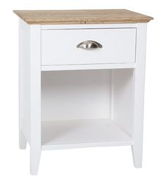 New England 1 Drawer Bedside Table White with Butcherblock Top Nightstand, Bedside Tables, Bespoke Furniture, Drawers, England, Bedroom, Top, Shopping, Design