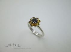 Sunflower Ring with Cubic Zirconia Sunflower Ring, Cluster Ring, Black N Yellow, Classic, Earrings, Silver, Jewelry, Derby, Ear Rings