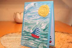 Marbled Hintergrund und Swirly Bird – Handgefertigte Karten