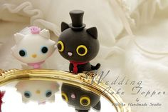 bride and groom kitty and cat Wedding Cake Topper by kikuike, $120.00
