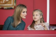 12 October 2014 National Day, Madrid  King Felipe and Queen Letizia and their daughters attendend the military parade in honour of the Spanish National day