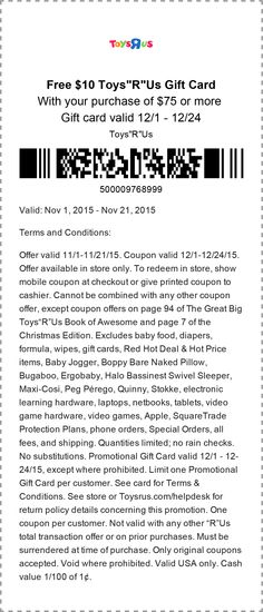 Pinned November 17th: $10 gift card free with $75 spent at Toys #R Us #coupon via The #Coupons App