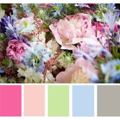 pastel wedding colors. pink, green, blue, silver