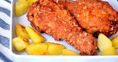 Remek recept KFC rántott csirkecomb recept. Rántott csirke (alsó) comb, kicsit másképpen elkészítve. Több fűszerrel, zabpehellyel, és ha elkészült szinte teljesen olyan lesz mint a KFC-ben kapható ropogós külsejű, omlós csirkecomb. ;) Meat Recipes, Chicken Recipes, Cooking Recipes, Kfc, Chia Puding, Hungarian Recipes, Tandoori Chicken, Poultry, Main Dishes