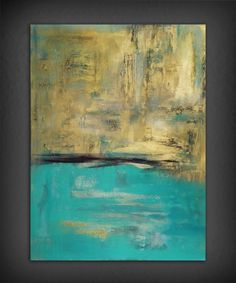 Abstract Gold and Turquoise Painting.