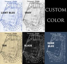 Here is a amazing blueprint of Fenway stadium showing all the details of the field and seating chart, home of the Red Sox  FREE SHIPPING ANY SIZE & ANY MATERIAL.  ORDER TIME FRAME -Photo and Matte Paper = 1-3 business days processing time -Canvas = 3-5 business days  Product is an image printed on your choice of either photo paper, matte paper, or canvas Color choices Black, Tan, Grey, Light Blue, Dark Blue  PHOTO LUSTER PAPER - Premium High Quality Photo Luster paper used to print…