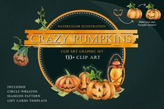 CRAZY PUMPKINS Watercolor by andypray on @creativemarket