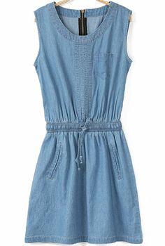 Blue Sleeveless Zipper Drawstring Denim Dress - Sheinside.com