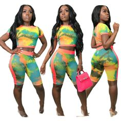 Women Short Sleeves Tie-dyed Print Jumpsuit Sport Casual Club Short Outfits 2pcs