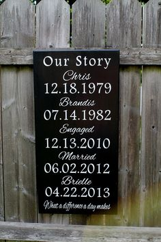 """What a difference a day Makes - 12"""" x 24"""" Custom WOODEN BOX SIGN - Important dates - Home Decor Signage"""