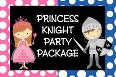Princess Knight Birthday Invitations and Party Decorations www.cutiepatootiecreations.com www.cutiestiedyeboutique.etsy.com