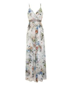 This White & Blue Floral Embellished Maxi Dress by Little Mistress is perfect! #zulilyfinds~ W/ cute shrug or jacket?
