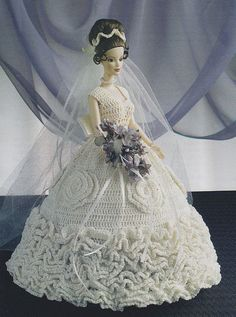 Fashion Doll Wedding Dress Crochet Pattern by PaperButtercup
