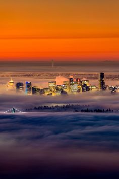 Foggy sunrise - Vancouver, Canada ( Photo by Alexis Birkill Places Around The World, The Places Youll Go, Places To See, Around The Worlds, Calgary, British Columbia, Rocky Mountains, Alaska, Toronto