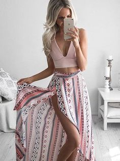 chic pink summer two piece set girly maxi outfit