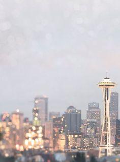 A glittering Seattle skyline.