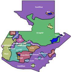 """A language map of Guatemala, according to the Comisión de Oficialización de los Dialectos Indígenas de Guatemala. The """"Castilian"""" areas represent Spanish."""