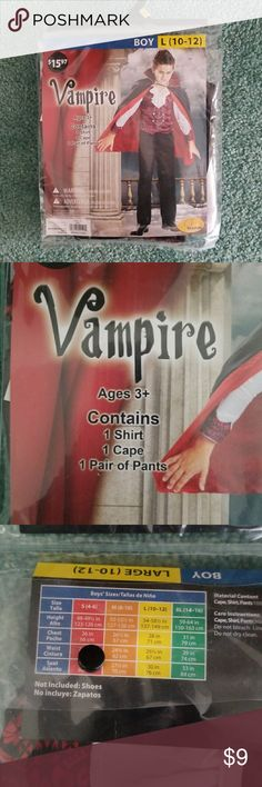 NEW Boys Vampire Halloween Costume This is a brand new Halloween costume never before taken out of its bag. It's a size boys large 10 to 12. Original price was $15.97. Seasons Other