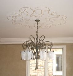 Unique design around the chandelier is a must! Ceiling Murals, Ceiling Ideas, My Home Design, House Design, Painted Ceilings, Orange Rooms, Home Remodeling, House Renovations, Ceiling Treatments