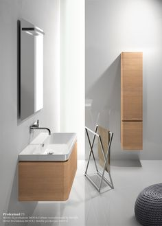 Semi-inset wall-mounted ceramic #washbasin PROIEZIONI 75 by @Ceramica Catalano #bathroom