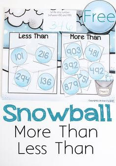Learning greater than/less than has never been more fun! This snowball math game is a great way to practice number order and is a fun math game for winter. Learn Math Online, Winter Activities For Kids, Fun Math Games, Teaching Math, Preschool Math, Maths, Teaching Ideas, Kindergarten Learning, 1st Grade Math