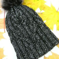 """Wome's winter hat """"Flocart"""" dark grey Stylish and original hat. Handmade, seamlessy knitted, blue with a bubo of natural dyed fur. Dark Grey, Knitted Hats, Roman, Winter Hats, Fur, The Originals, Knitting, Stylish, Natural"""