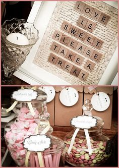 Vintage Lolly Buffet... Matches my Grey and Pink color scheme! Sixteenths are sweet - replacing the love is sweet, less wedding and more party!