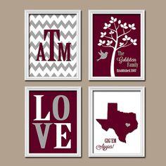 Texas A&M ATM College Custom Family Monogram Initial State LOVE Bird Tree Wedding Date Print Artwork Set of 4 Prints Wall Decor ART Wedding