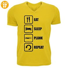 Eat Sleep Plank Repeat Funny Black Graphic Men's V-Neck T-shirt X-Large (*Partner-Link)