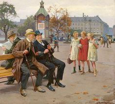 Erik Henningsen (1855-1930): Old schoolmates sitting on a bench at Lille Triangle in Copenhagen, 1926