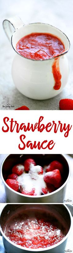 This easy Strawberry Sauce is delicious over ice cream, crepes, waffles, pancakes, and cheesecake!