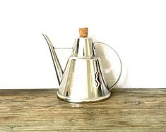 Stainless Steel Metal Watering Can / Retro Silver Watering Can / Italian oil can with spout