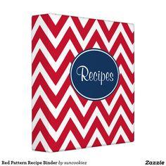 Red Pattern Recipe Binder