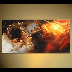 Modern 48 x 24 Contemporary Abstract Painting by by OsnatFineArt, $499.00
