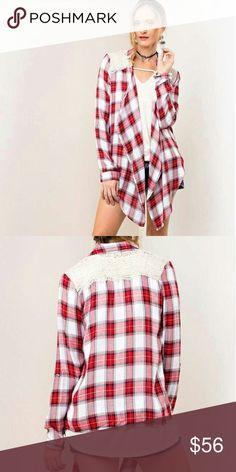 NWT Retail! Vintage Plaid Cardigan Soft plaid cardigan. Open front. Asymmetrical. Lace shoulders. Jackets & Coats