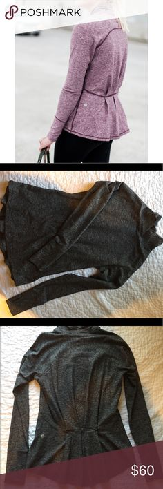 lululemon pullover warm rulu material; turtleneck long sleeve pullover; ruffled peplum back; dark grey (picture is same shirt but different color); worn once lululemon athletica Tops Tees - Long Sleeve