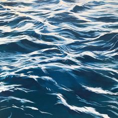 Water painting with deep blues, beautiful navy interior art by Julie Kluh Water Patterns, Water Reflections, Sea Waves, Acrylic Painting Canvas, Painting Art, Art Techniques, Painting Inspiration, Nature Photography, Sea Paintings