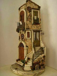 Polymer Clay Masa flexibel kaltes Porzellan Fimo C. Miniature Rooms, Miniature Crafts, Miniature Houses, Clay Fairy House, Fairy Garden Houses, Clay Wall Art, Clay Art, Diorama, Clay Houses