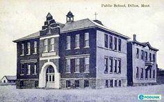dillon mt   Dillon postcard post card - School, Dillon, MT