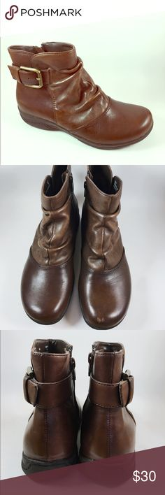 Brown leather ankle boots by Clarks SIZE 6M Cute and stylish are these brown leather ankle boots by designer brand Clarks. Boots are in excellent condition see pictures for details! Clarks Shoes Ankle Boots & Booties