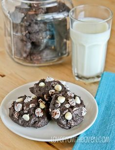 Dark chocolate cookies packed with white chocolate.  So chewy and delicious!