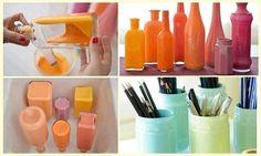 Decoração e reciclagem: garrafas coloridas #reciclagem #garrafas #decoração #artesanato #façavocemesmo #DIY