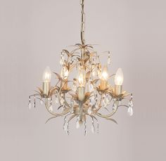 Chandeliers adele five branch traditional antique cream gold leaf lavenham cream and clear glass 5 light chandelier mozeypictures Images