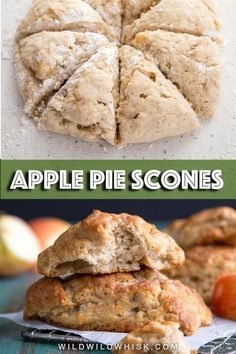 These Apple Scones are made with buttermilk for a tender texture and fresh apple pieces lightly spiced with warm Autumn spices, perfect for Fall and throughout the holiday season. #wildwildwhisk #scones