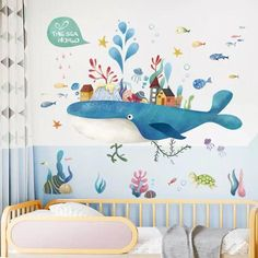 Cartoon Fairy Whale Island Wandaufkleber Kinder Baby Zimmer Home Decoration PVC Wandtattoos Kinderzimmer Aufkleber Wallpaper Wall Decor, Nursery Stickers, Kids Wall Decals, Bedroom Wall Stickers, Kids Room Wall Stickers, Romantic Bedroom Decor, Bedroom Vintage, Kids Room Murals, Wall Decor Kids Room, Baby Room Wall Decor