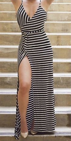 Black and white stripes maxi dress