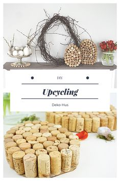 Another DIY for Easter: upcycling wine corks - Deko-Hus Easter DIY crafting with kids employment for kids The decoration of the house is much like an exhibit space that reveals. Diy Hanging Shelves, Diy Wall Shelves, Floating Shelves Diy, Upcycled Home Decor, Diy Home Decor Projects, Diy Projects To Try, Decor Ideas, Wine Bottle Crafts, Mason Jar Crafts